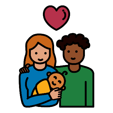 A couple holding a baby with a heart above them