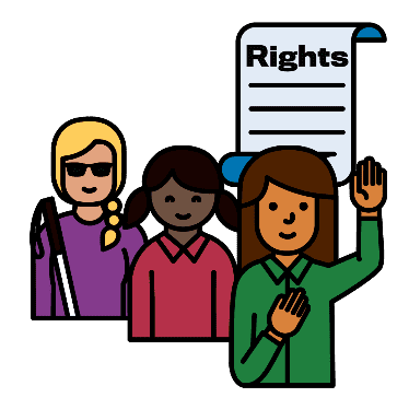 3 women with a rights document next to them