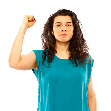 A woman with a fist raised in the air