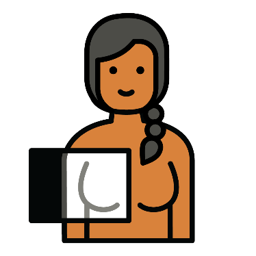 A woman standing with a screen over 1 breast