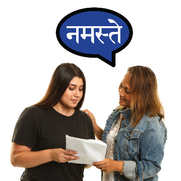 A woman talking to a translator in another language