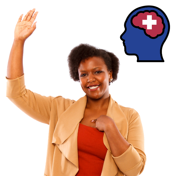 Woman pointing at herself and her other hand raised. There is a brain icon with a plus sign in it.