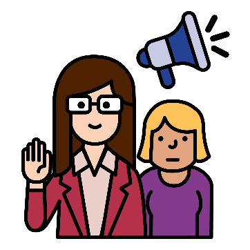 2 women, 1 with her hand raised. There is an advocacy symbol next to them