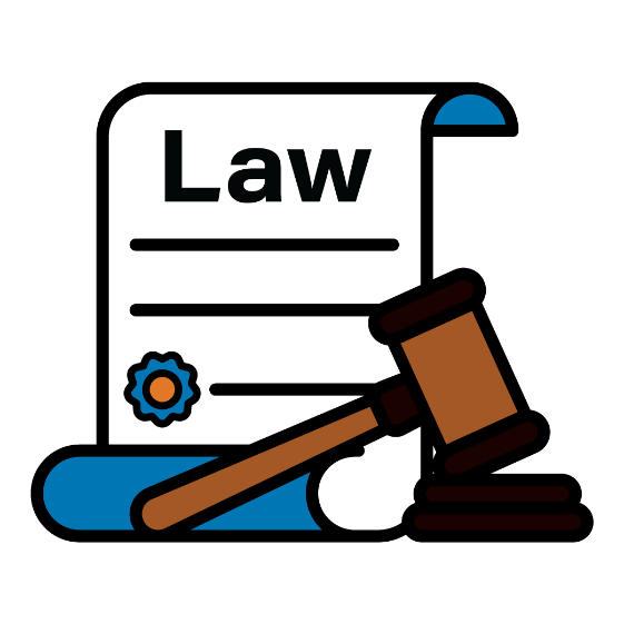 Law scroll with gavel icon