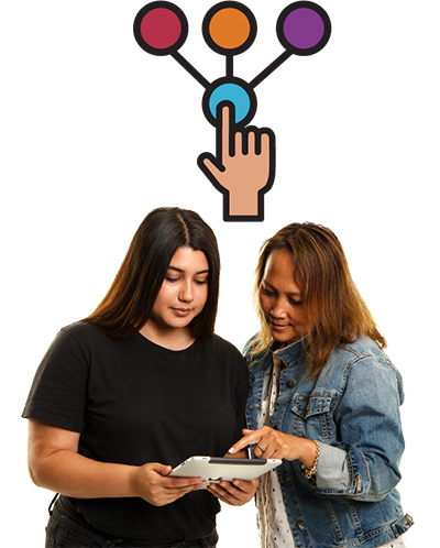 2 women reading a document together. There is a symbol to show making a decision next to them