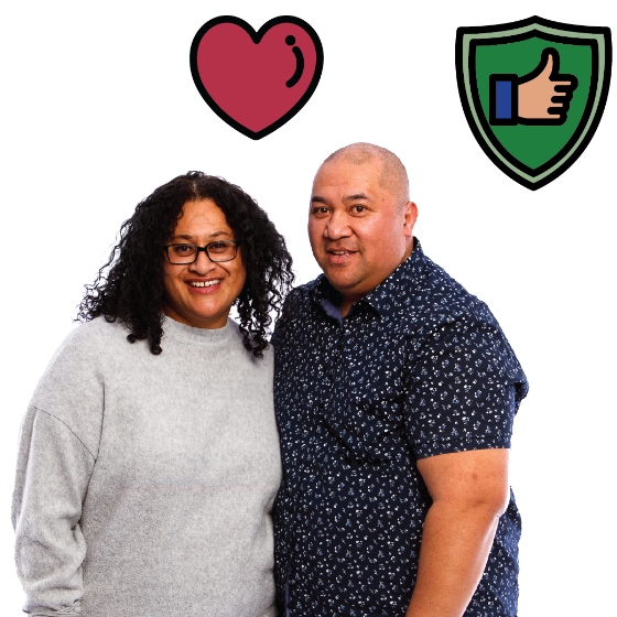 Couple in a relationship. There is also a safe icon.