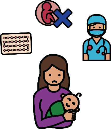 A woman with a baby. She looks worried. Around her is contraception, a symbol for abortion and a surgeon