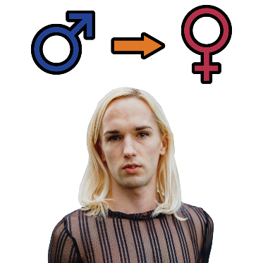 A person. Above the person is a male symbol with an arrow pointing to a female symbol