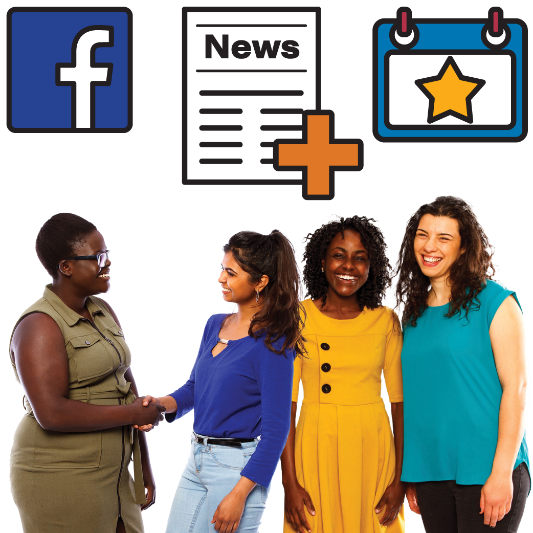 4 women smiling and talking. There are symbols for Facebook, news and events next to them