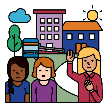3 women standing together. 1 woman has 1 hand in the air and the other pointing to herself.