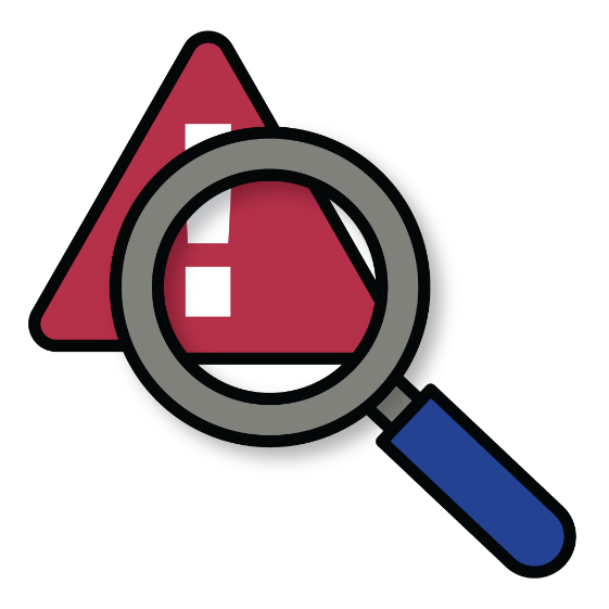 A warning symbol with a magnifying glass on top of it