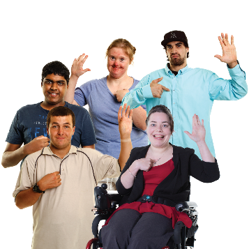 5 people with 1 hand in the air and the other hand pointing at themselves