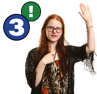Woman pointing at herself with her other hand raised. There is also the number three with an exclamation mark.