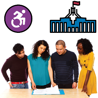 A group of people looking at a document. There is an accessible icon and a federal government building next to them
