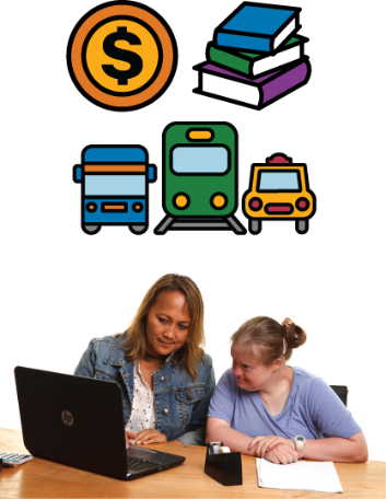 Two women looking at a computer. Above them is a symbol for transport, money and books