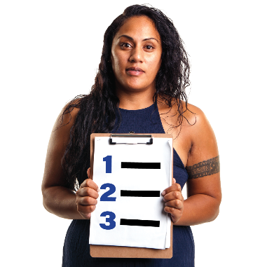 A woman holding a clipboard with 3 choices on it