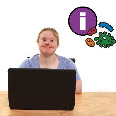 Woman using computer. There is an information and virus icons above her.