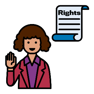 A woman with 1 hand in the air and the other pointing to herself. There is a rights document next to her