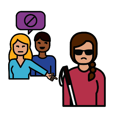 2 women pointing at a woman with disability and saying mean things