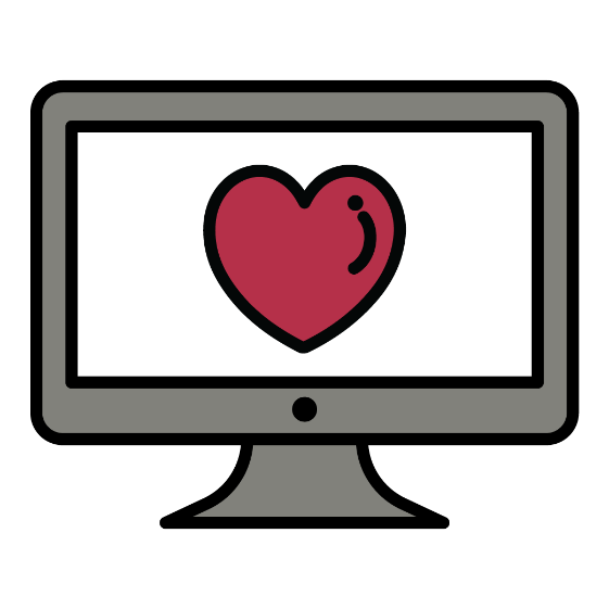 A computer with a heart on it