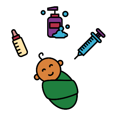 A baby with a baby bottle, soap and a needle around it