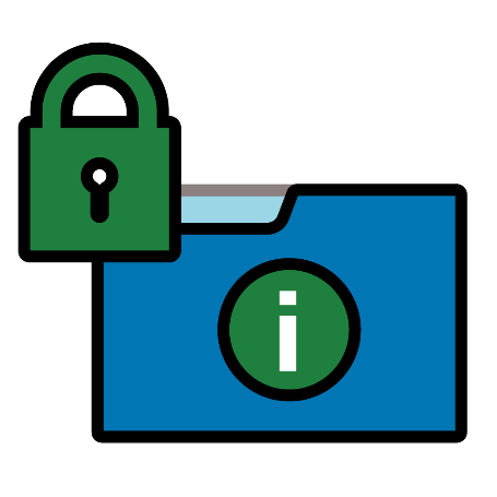 A document with an information icon and a lock icon next to it