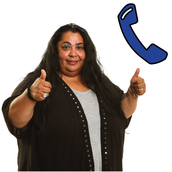 A woman with her thumbs up. There is a phone next to her
