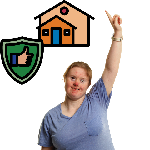 A woman with her hand in the air asking a question. There is a house with a safety symbol next to her