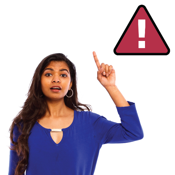 A woman with her hand in the air. There is a warning symbol next to her