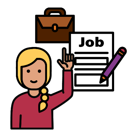 Woman with her hand raised pointing at a job application form and a briefcase