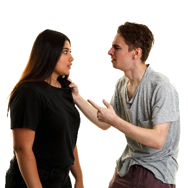 A man pointing at a woman