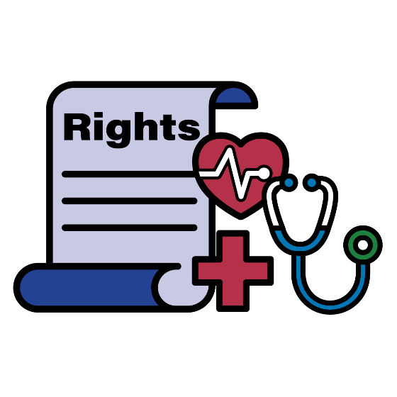 Rights scroll, health icon and stethoscope icon