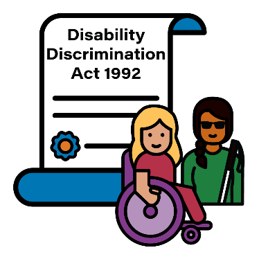 Disability Discrimination Act 1992 document next to 2 women with disability