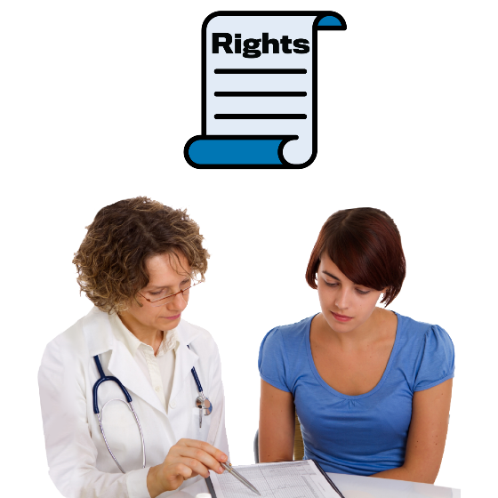 Doctor explaining a document to a woman. There is a rights icon above them.