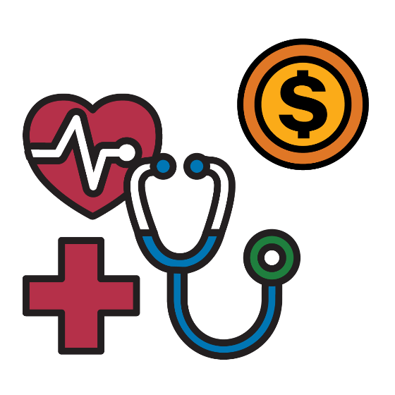 Health icon and stethoscope with dollar sign.