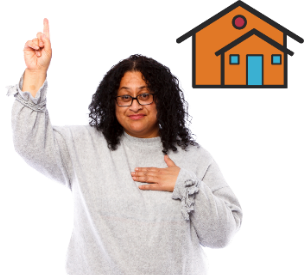 A woman with 1 hand in the air and the other pointing to herself. There is a house next to her