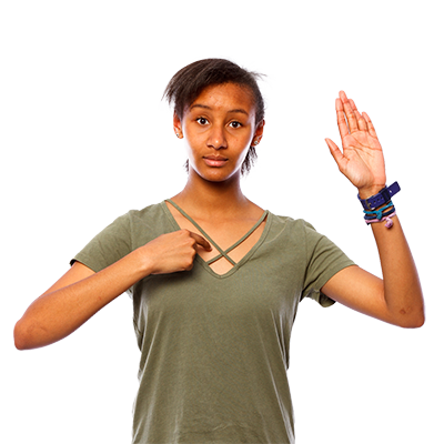 A woman with 1 hand in the air and the other pointing to herself