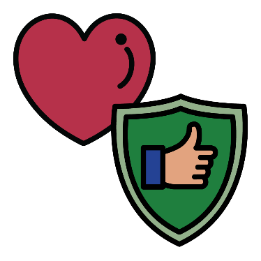 A heart with a symbol for safety