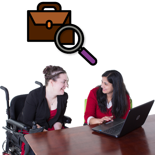 Woman helping another woman find a job. There is a briefcase and magnifying glass above them.