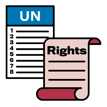 A document with UN and 8 lines on it and a rights document next to it