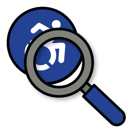 An accessible icon with a magnifying glass on top of it