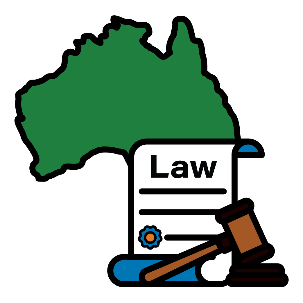 Map of Australia with a law document and gavel