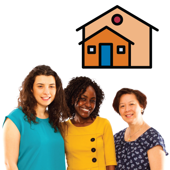 Three friends standing together smiling. There is a house icon above them.