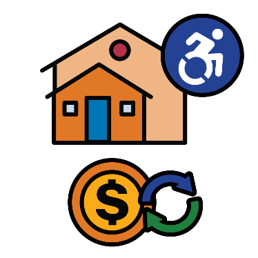 An accessible house, with symbols for money and change below