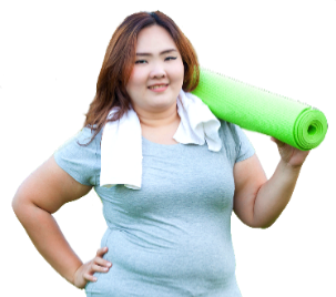 A woman wearing exercise clothes
