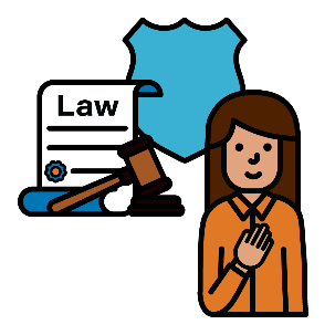 A woman pointing to herself with a law document and gavel, and a symbol for protection next to her