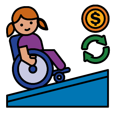 A woman in a wheelchair using a ramp. There are symbols for money and change next to her