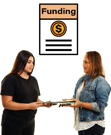 2 women looking at a document together. There is a funding document next to them