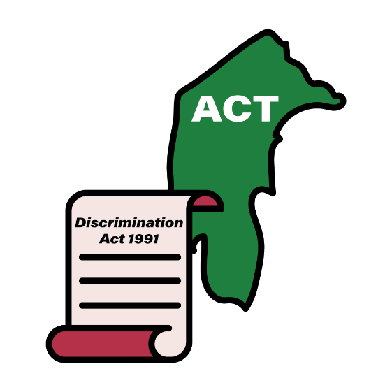 Map of ACT with a Discrimination Act 1991 icon