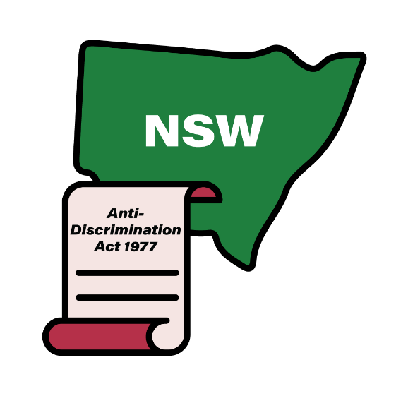 Map of NSW with an Anti-Discrimination Act 1977